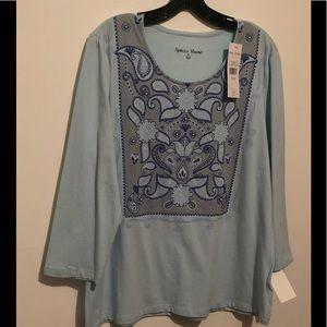 Ladies light blue blouse